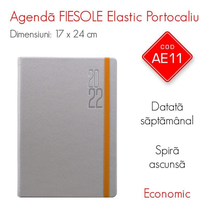 Agenda Economica FIESOLE Elastic Portocaliu 17x24 cm Datata Saptamanal