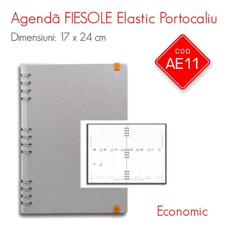 Agenda Economica FIESOLE Elastic Portocaliu 17×24 cm Datata Saptamanal – Interior