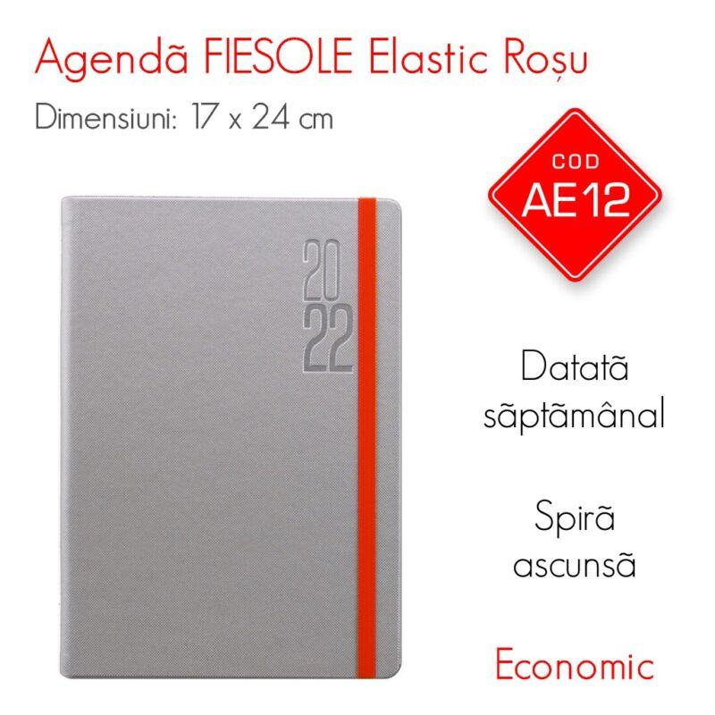 Agenda Economica FIESOLE Elastic Rosu 17x24 cm Datata Saptamanal