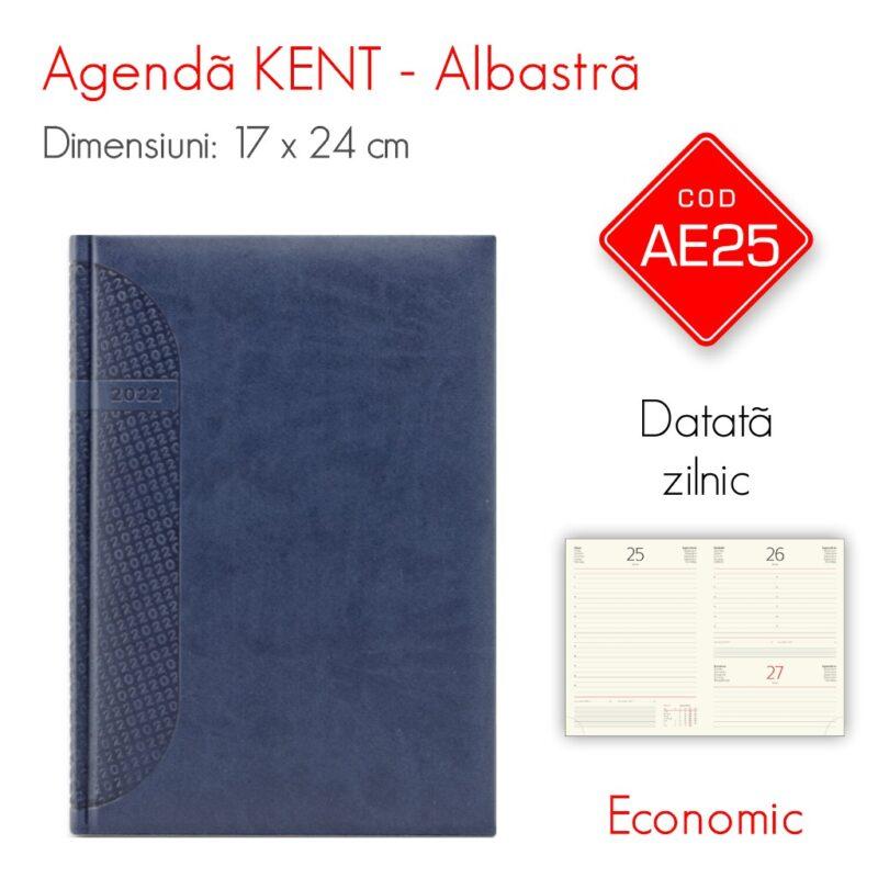 Agenda Economica KENT Albastra 17x24 cm Datata Zilnic