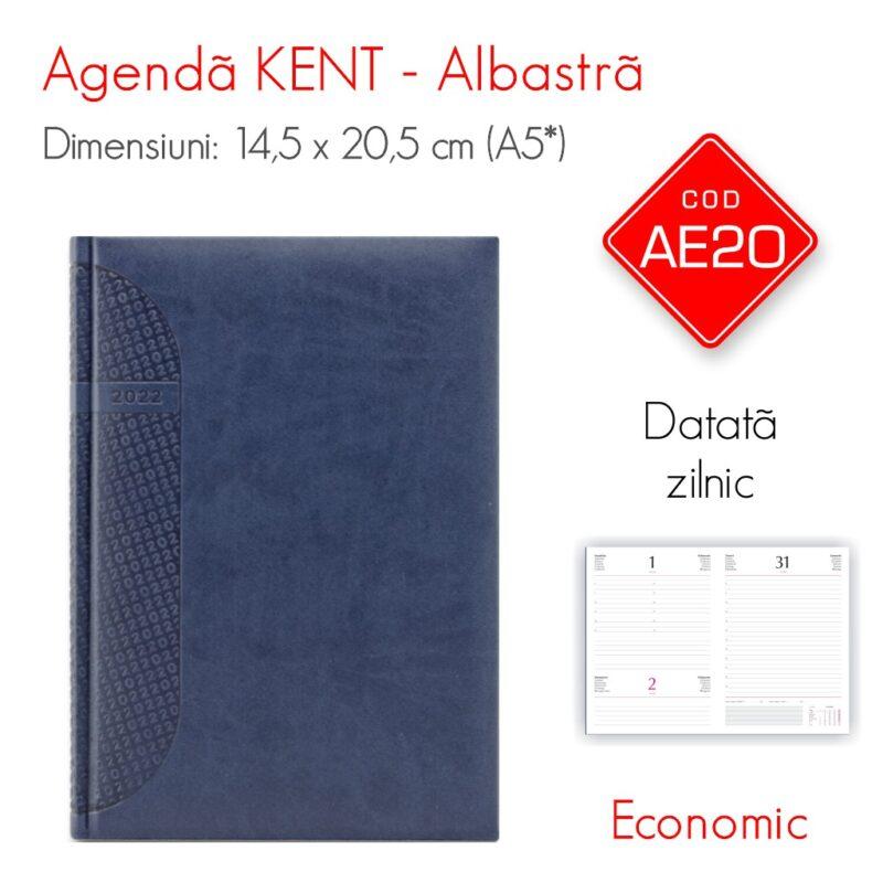 Agenda Economica KENT Albastra A5 Datata Zilnic