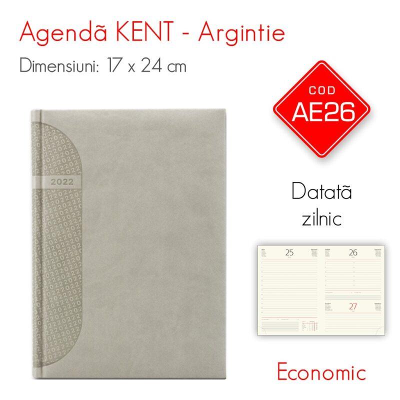 Agenda Economica KENT Argintie 17x24cm Datata Zilnic