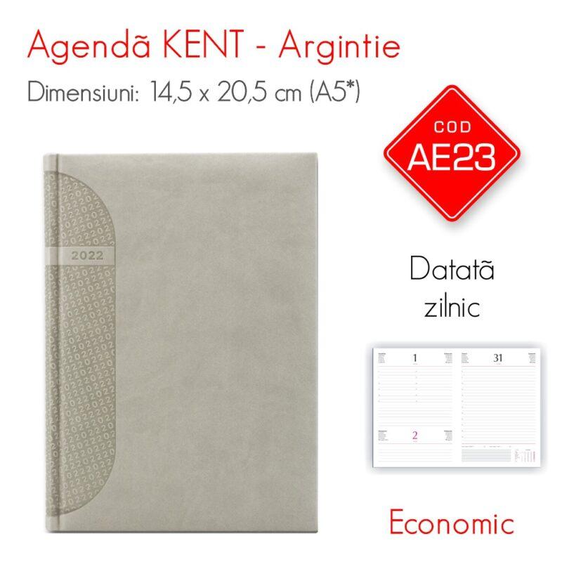 Agenda Economica KENT Argintie A5 Datata Zilnic