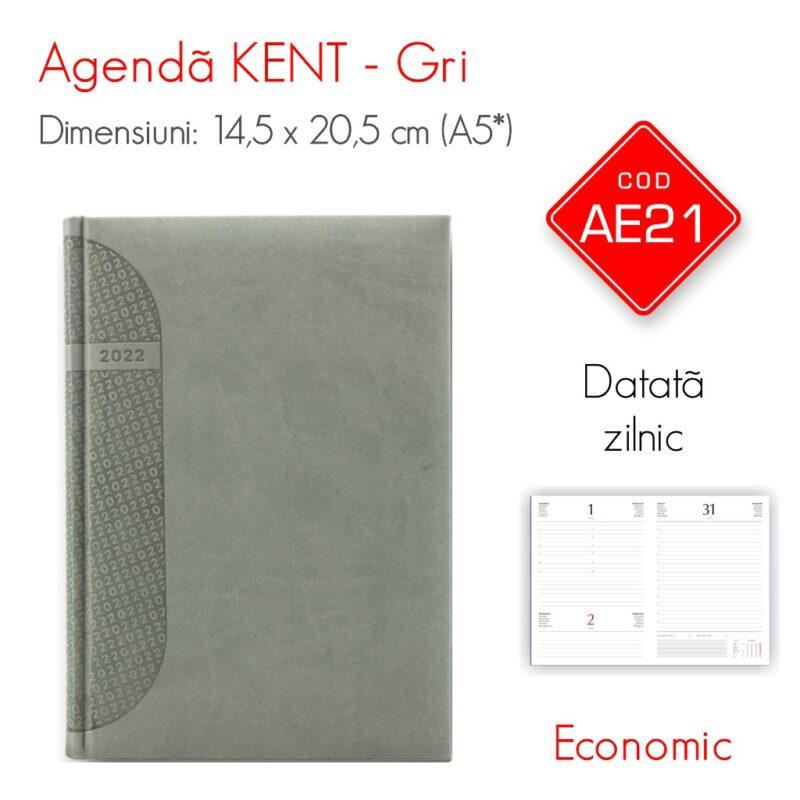 Agenda Economica KENT Gri A5 Datata Zilnic