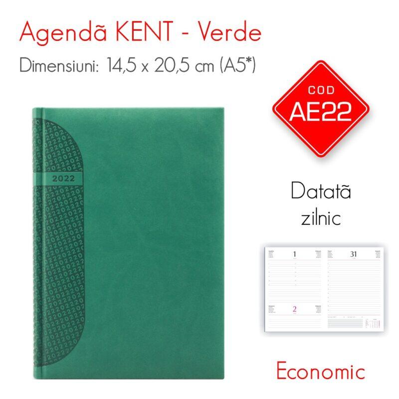Agenda Economica KENT Verde A5 Datata Zilnic