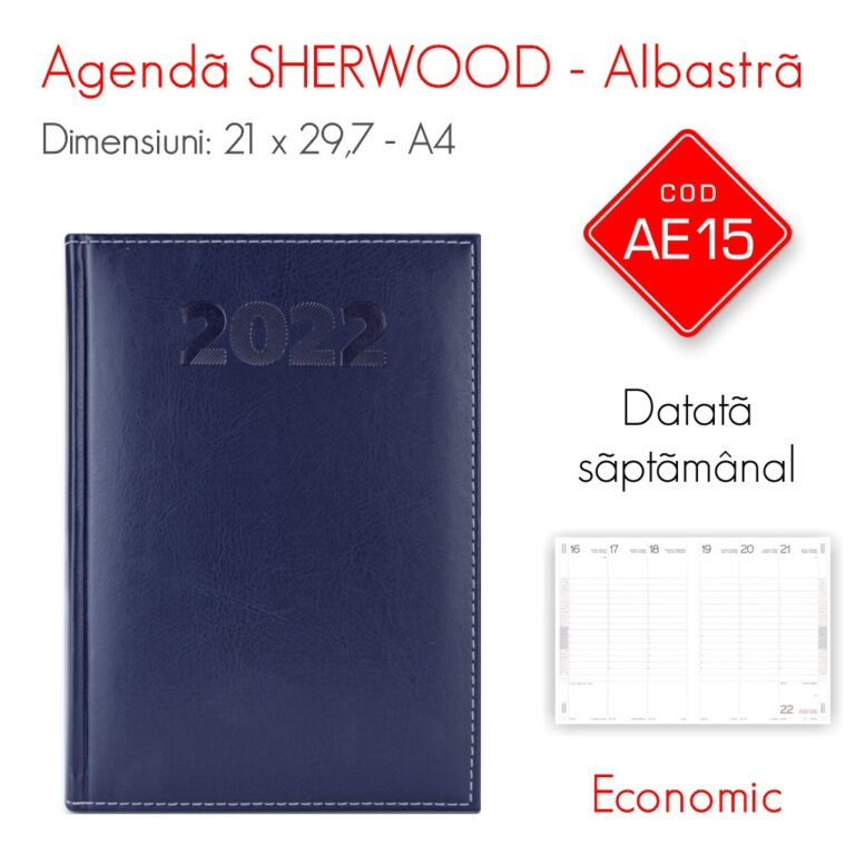Agenda Economica SHERWOOD Albastra A4 Datata Saptamanal