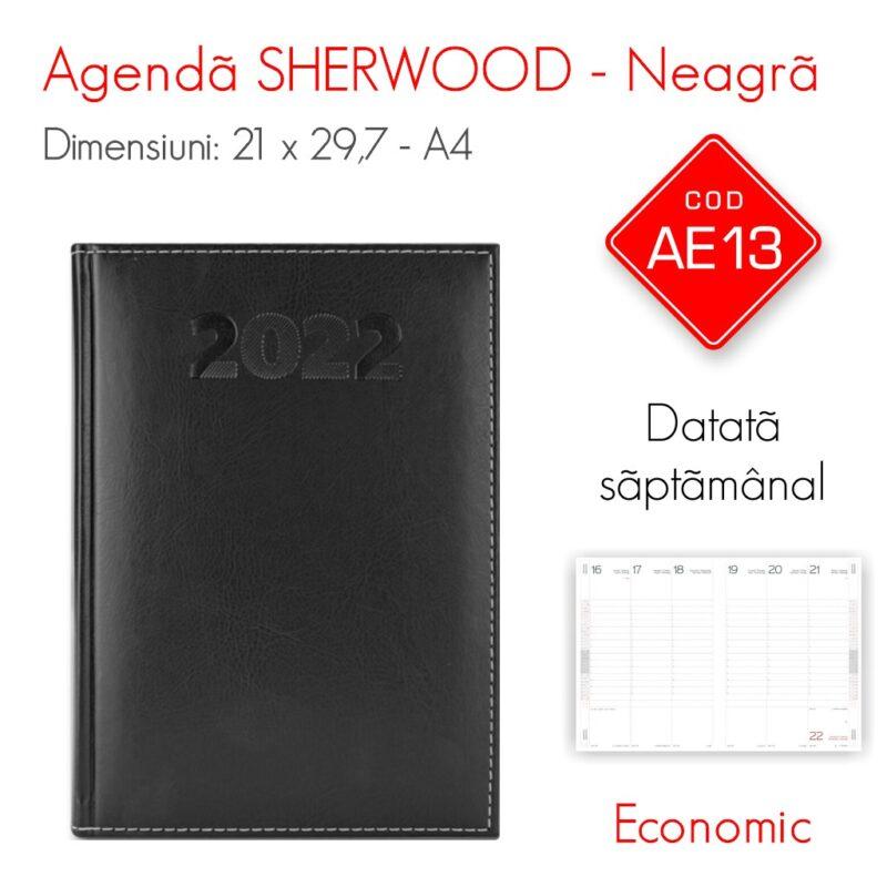 Agenda Economica SHERWOOD Neagra A4 Datata Saptamanal