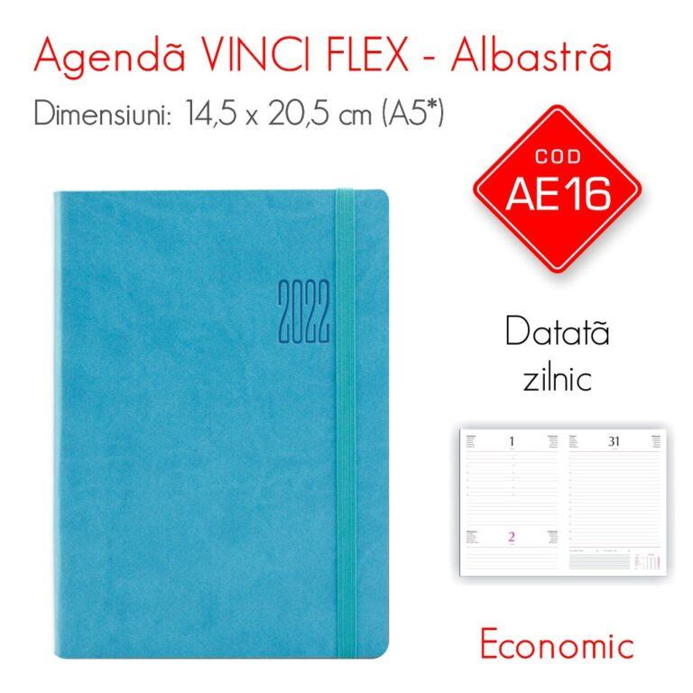Agenda Economica VINCI FLEX Albastra A5 Datata Zilnic