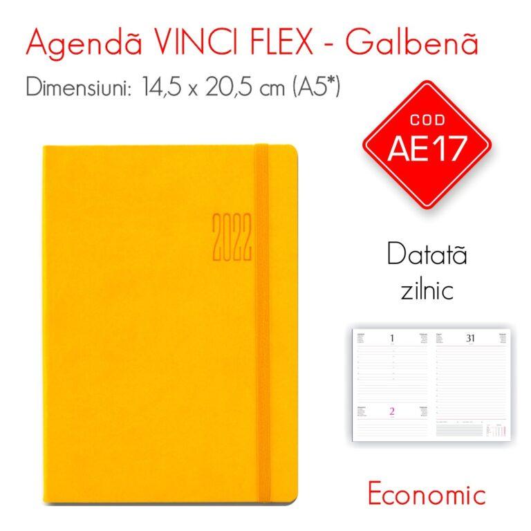 Agenda Economica VINCI FLEX Galbena A5 Datata Zilnic