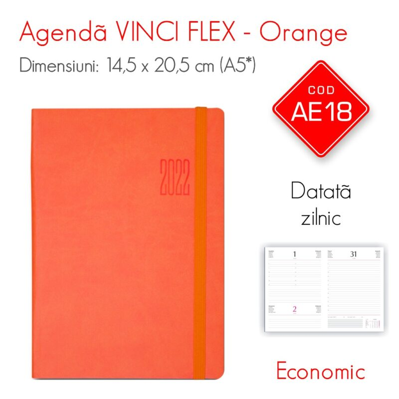 Agenda Economica VINCI FLEX Orange A5 Datata Zilnic