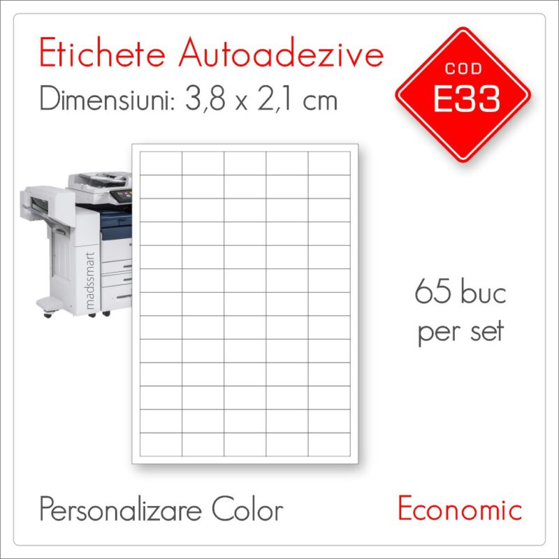Etichete Autoadezive Personalizate | 38 x 21 mm | Color | Economic | E33 | Mads Smart