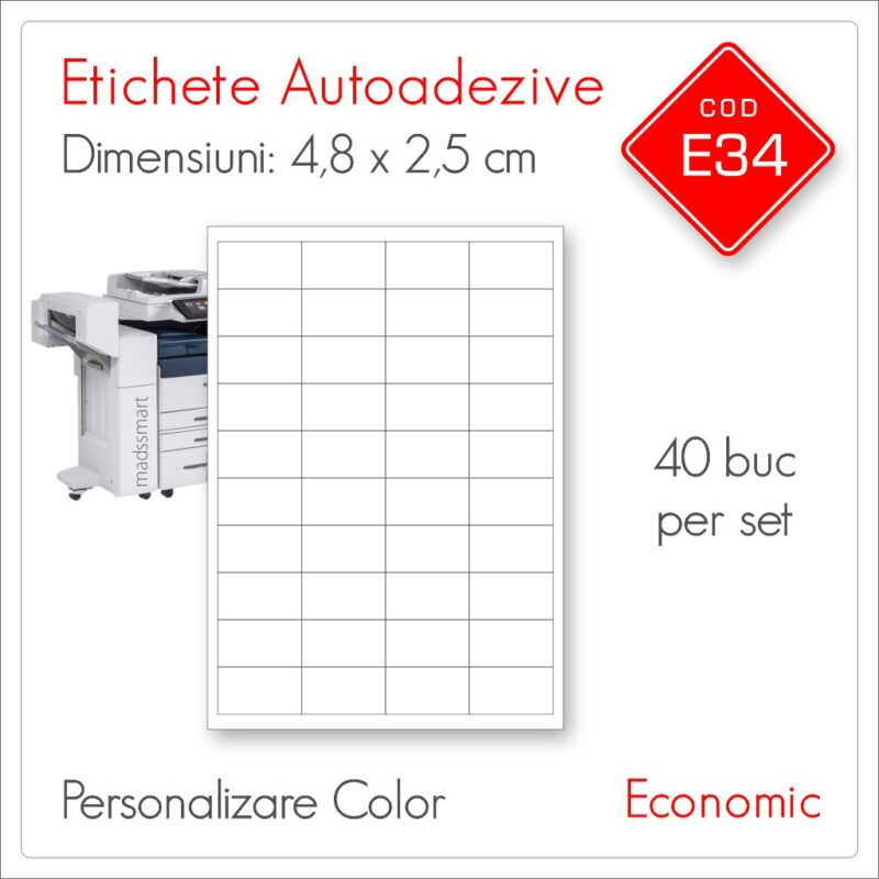Etichete Autoadezive Personalizate | 48 x 25 mm | Color | Economic | E34 | Mads Smart