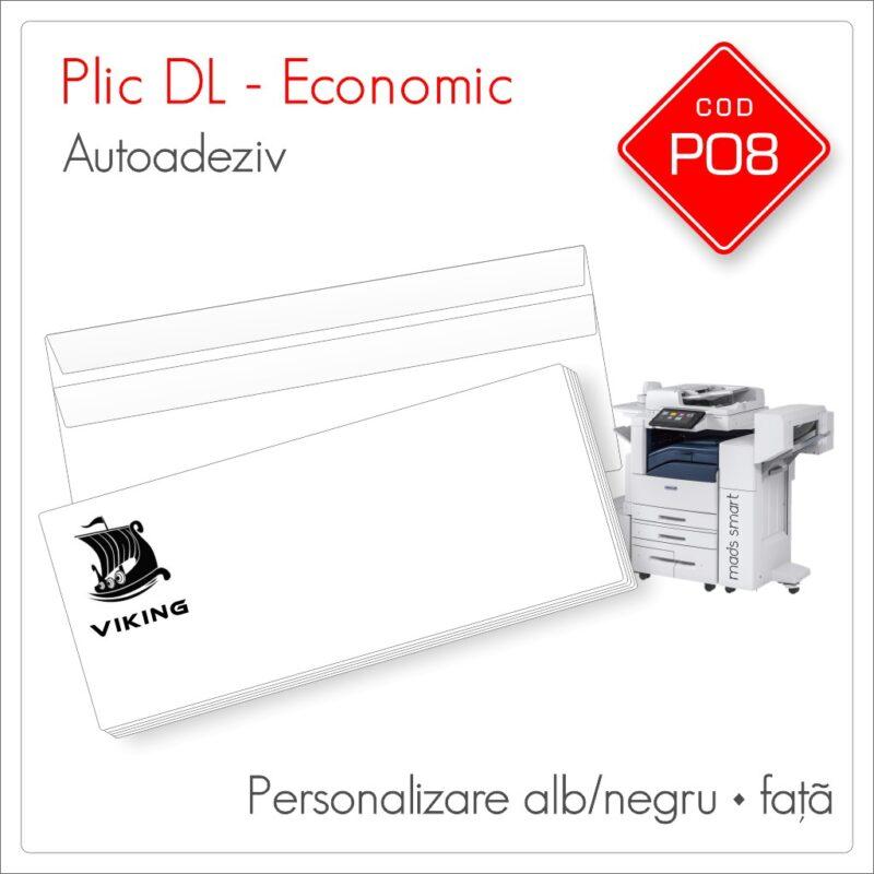 Plicuri Personalizate DL | Clapă Dreaptă Autoadezivă | Alb/Negru | Față | Economic | Cod P08 | Mads Smart