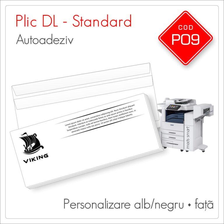Plicuri Personalizate DL | Clapă Dreaptă Autoadezivă | Alb/Negru | Față | Standard | Cod P09 | Mads Smart