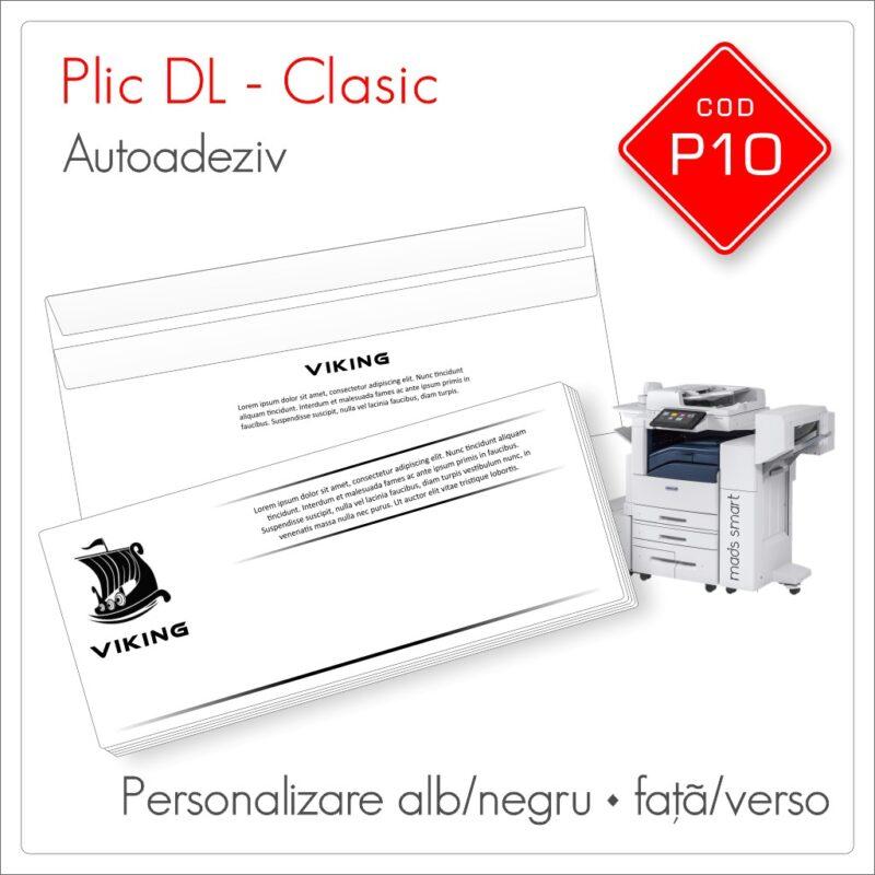 Plicuri Personalizate DL | Clapă Dreaptă Autoadezivă | Alb/Negru | Față/Verso | Clasic | Cod P10 | Mads Smart