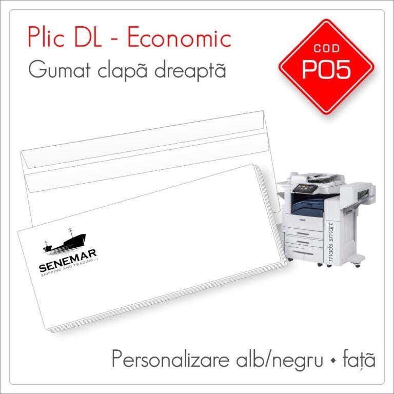 Plicuri Personalizate DL | Clapă Dreaptă Gumată | Alb/Negru | Față | Economic | Cod P05 | Mads Smart