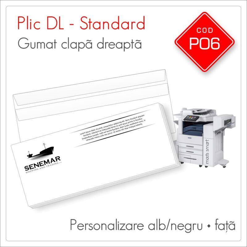 Plicuri Personalizate DL | Clapă Dreaptă Gumată | Alb/Negru | Față | Standard | Cod P06 | Mads Smart