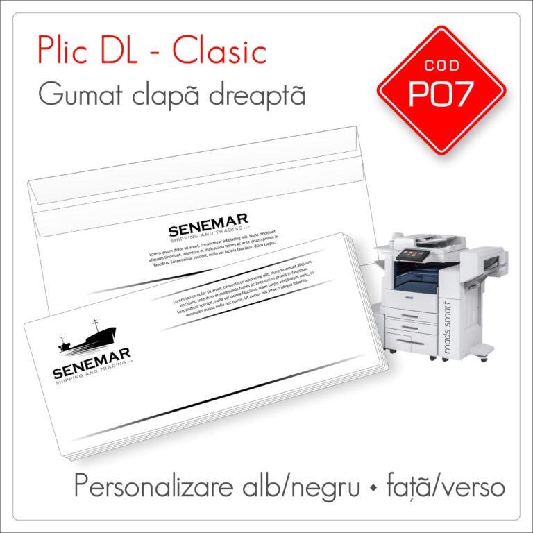 Plicuri Personalizate DL   Clapă Dreaptă Gumată   Alb/Negru   Față/Verso   Standard   Cod P06   Mads Smart