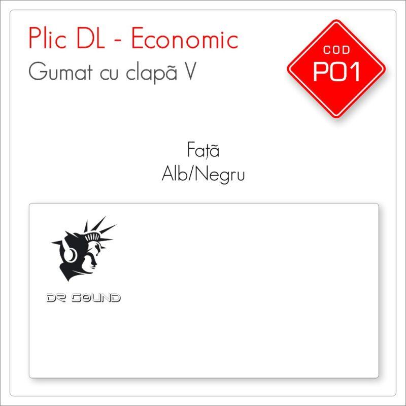 Plicuri Personalizate DL | Clapă V Gumată | Alb/Negru | Față | Economic | Cod P01 | Mads Smart