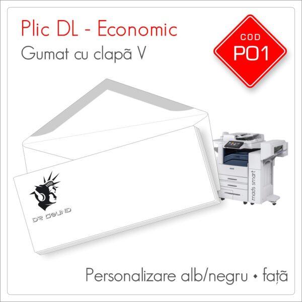 Plicuri Personalizate DL | Clapă V Gumată | Alb/Negru | Personalizare Față | Economic | Cod P01 - Mads Smart
