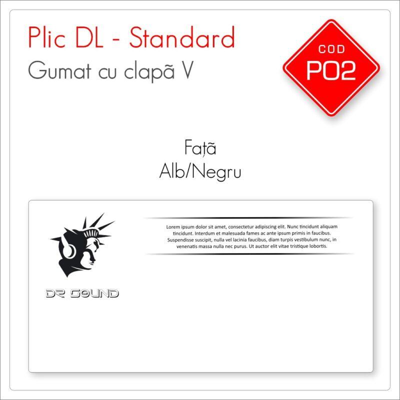 Plicuri Personalizate DL | Clapă V Gumată | Alb/Negru | Față | Standard | Cod P02 – Mads Smart
