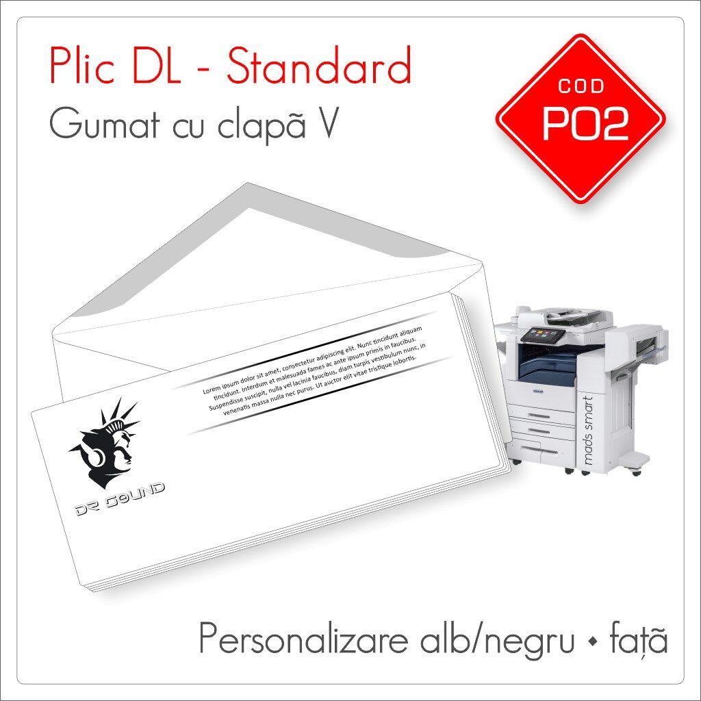 Plicuri Personalizate DL | Clapă V Gumată | Alb/Negru | Personalizare Față | Standard | Cod P02 - Mads Smart
