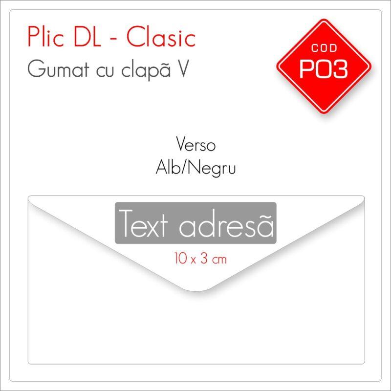 Plicuri Personalizate DL | Clapă V Gumată | Alb/Negru | Personalizare Față/Verso | Clasic | Cod P03 – Mads Smart