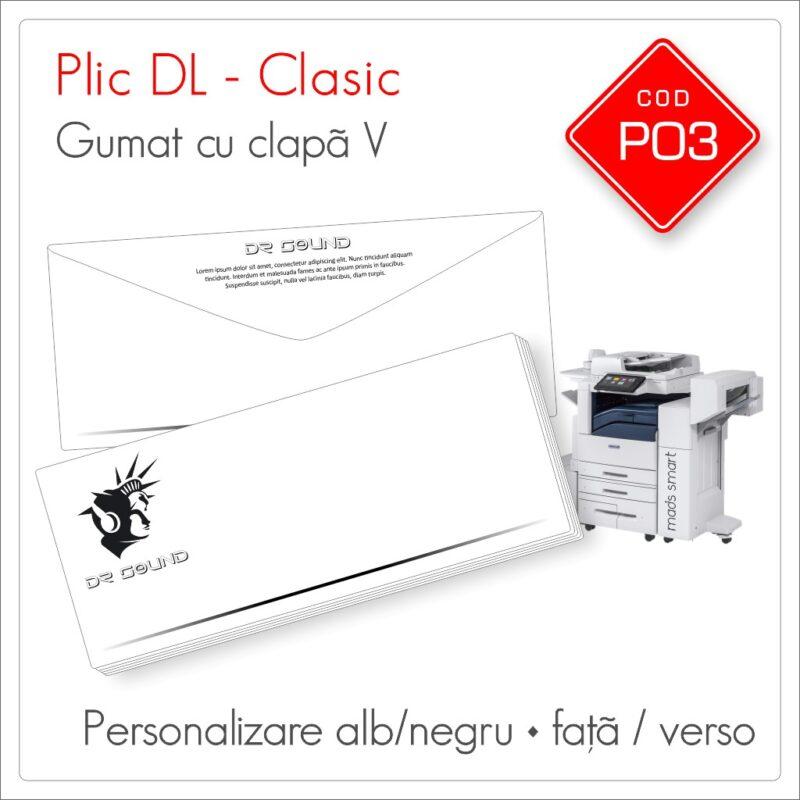 Plicuri Personalizate DL | Clapă V Gumată | Alb/Negru | Personalizare Față/Verso | Clasic | Cod P03 - Mads Smart