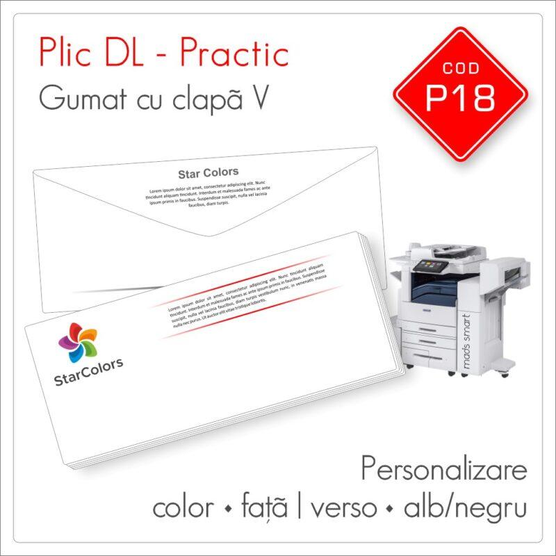 Plicuri Personalizate DL | Clapa V Gumata | Color & Alb/Negru | Personalizare Fata/Verso | Practic | Cod P18 - Mads Smart