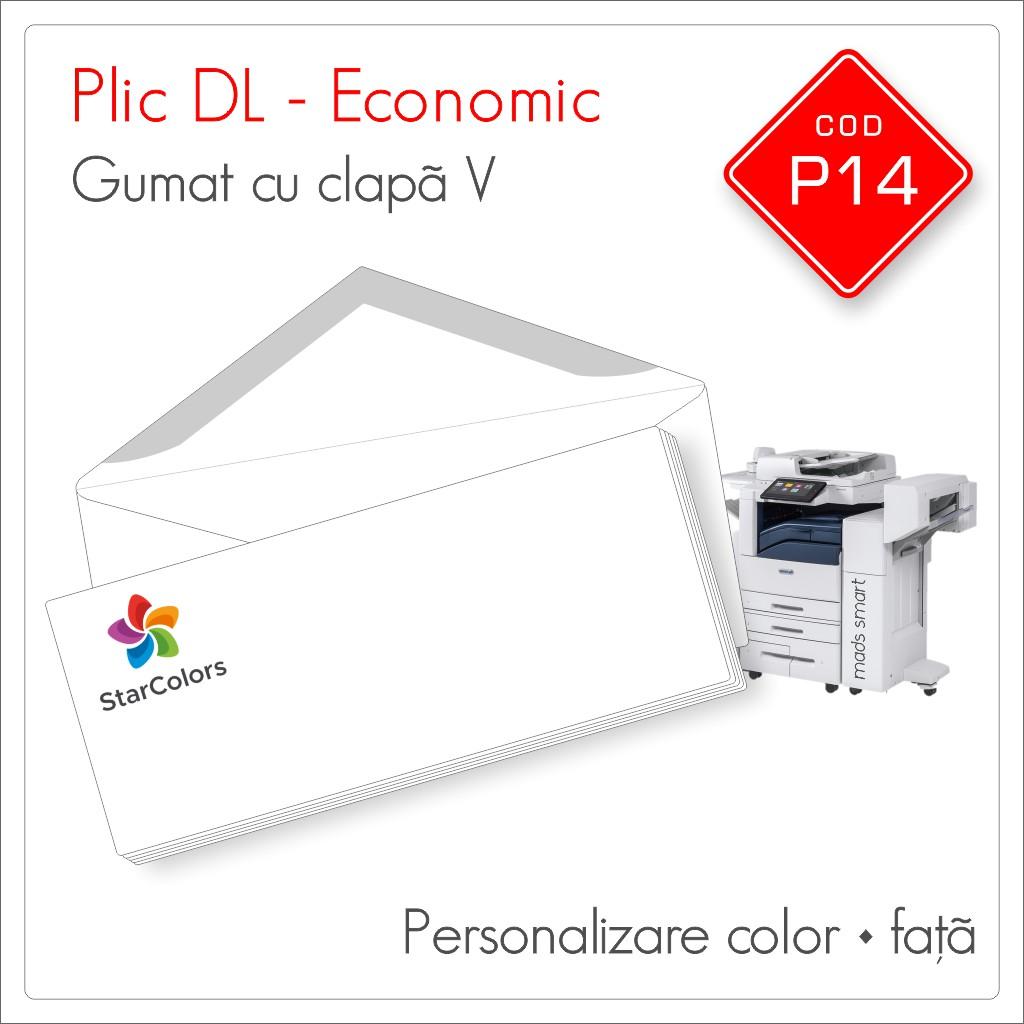 Plicuri Personalizate DL | Clapa V Gumata | Color | Personalizare Fata | Economic | Cod P14 - Mads Smart