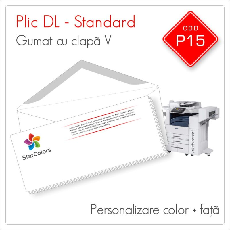 Plicuri Personalizate DL | Clapa V Gumata | Color | Fata | Standard | Cod P15 - Mads Smart