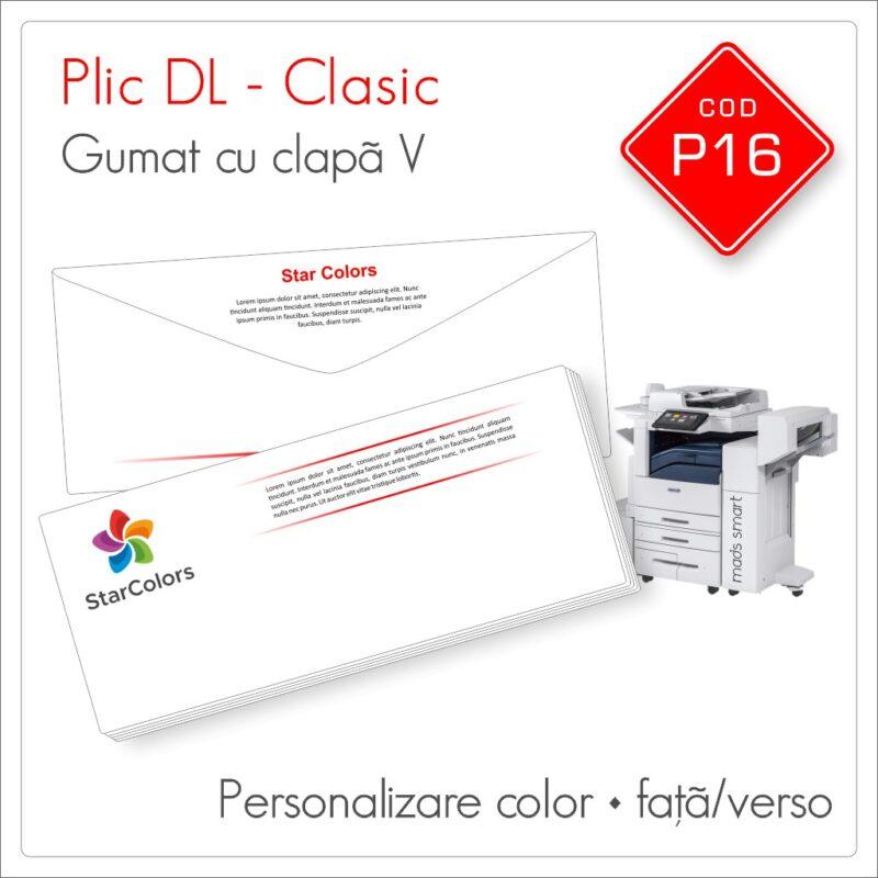 Plicuri Personalizate DL | Clapă V Gumată | Color | Personalizare Față/Verso | Clasic | Cod P16 - Mads Smart