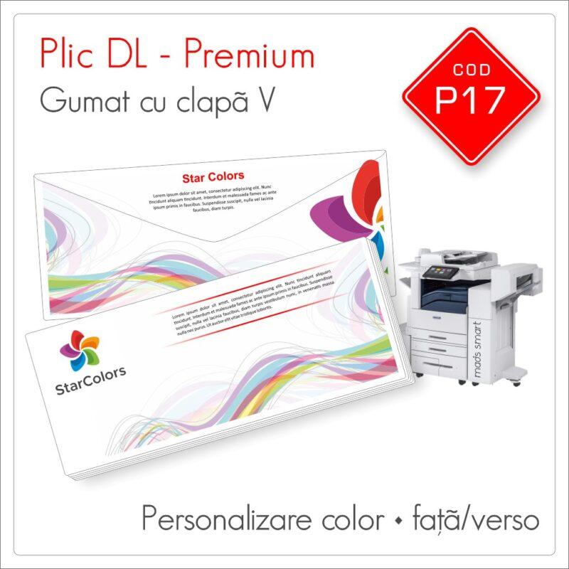 Plicuri Personalizate DL | Clapa V Gumata | Color | Față/Verso | Premium | Cod P17 - Mads Smart