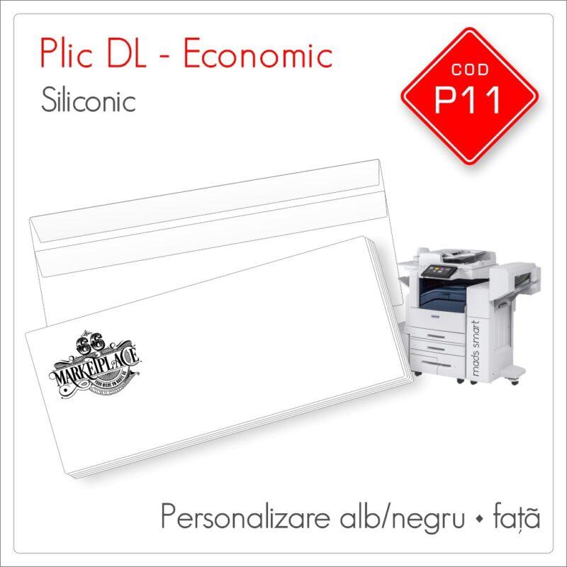 Plicuri Personalizate DL | Clapă Dreaptă Siliconică | Alb/Negru | Față | Economic | Cod P11 | Mads Smart