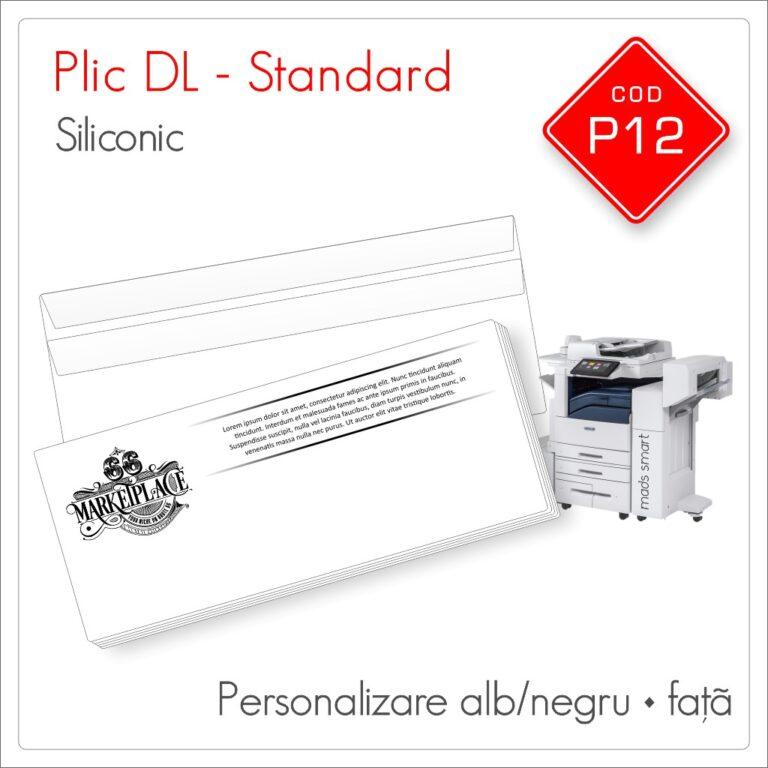 Plicuri Personalizate DL | Clapă Dreaptă Siliconică | Alb/Negru | Față | Standard | Cod P12 | Mads Smart