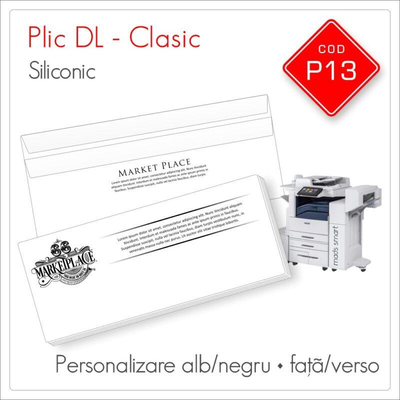 Plicuri Personalizate DL | Clapă Dreaptă Siliconică | Alb/Negru | Față/Verso | Clasic | Cod P13 | Mads Smart